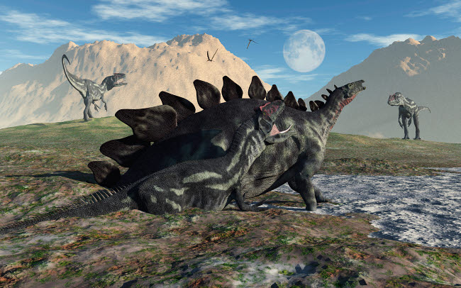 MAS600078P © Stocktrek Images, Inc. A Stegosaurus and Allosaurus caught in a deadly mud pit.