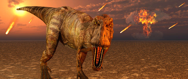 MAS600090P © Stocktrek Images, Inc. An asteroid hitting the Earth, marking the end of T-rex and all dinosaurs.