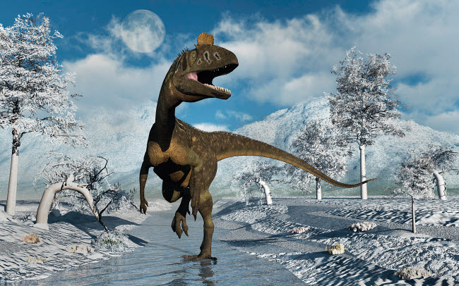 MAS600097P © Stocktrek Images, Inc. A Cryolophosaurus dinosaur walking along a stream of modern day Antarctica.