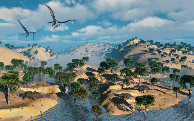 MAS600125P © Stocktrek Images, Inc. Quetzalcoatlus pterosaurs flying over a Cretaceous landscape.