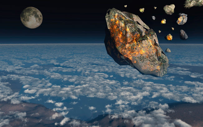 MAS600127P © Stocktrek Images, Inc. A giant asteroid burning up in the Earth's atmosphere.