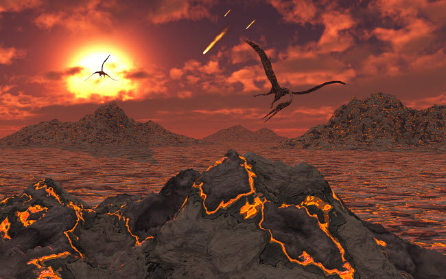 MAS600154P © Stocktrek Images, Inc. Pterosaurs above a volcanic landscape during the Cretaceous-Paleogene extinction event.