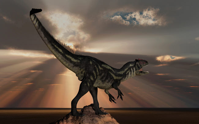 MAS600155P © Stocktrek Images, Inc. A carnivorous Allosaurus dinosaur from Earth's Jurassic period.