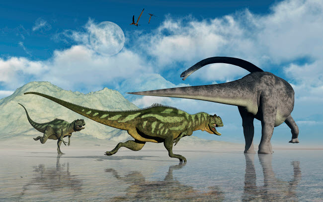 MAS600177P © Stocktrek Images, Inc. An Omeisaurus being chased by a pair of Yangchuanosaurus dinosaurs.