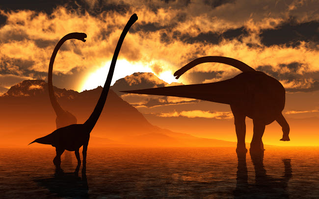 MAS600179P © Stocktrek Images, Inc. A small herd of Omeisaurus dinosaurs silhouetted by the Sun.