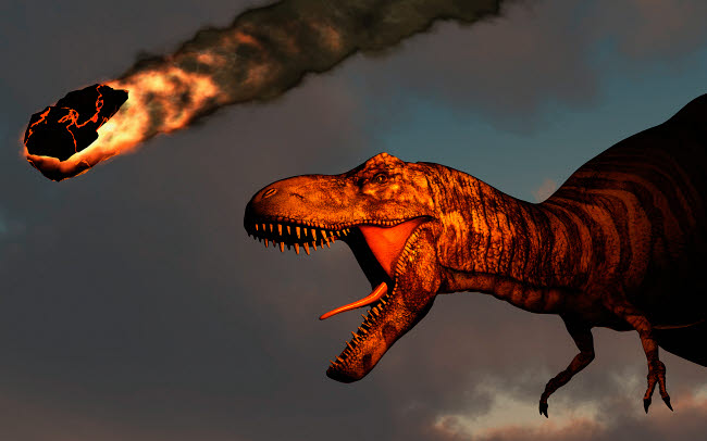 MAS600182P © Stocktrek Images, Inc. A vicious T-rex dinosaurs observing a falling asteroid.