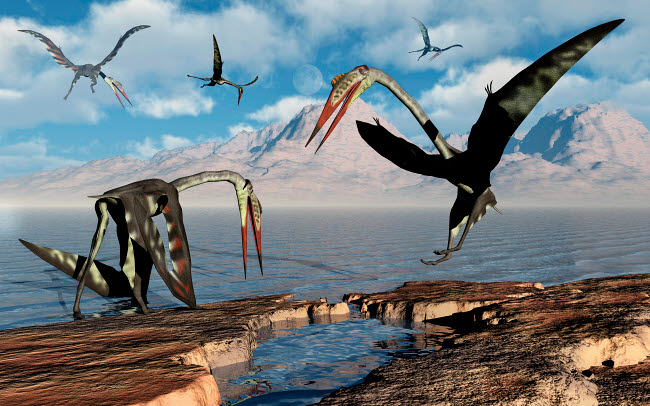 MAS600185P © Stocktrek Images, Inc. A flock of Quetzalcoatlus during Earth's Cretaceous period of time.