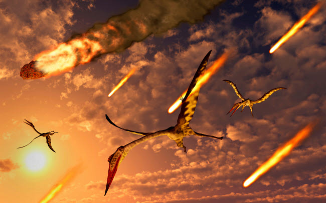 MAS600187P © Stocktrek Images, Inc. Quetzalcoatlus try to avoid meteorites during the Paleogene- Cretaceous extinction event.