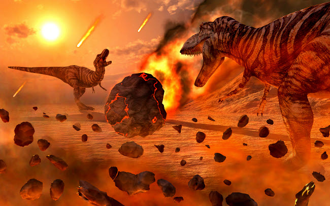 MAS600203P © Stocktrek Images, Inc. Artist's concept of the Cretaceous-Paleogene extinction event.
