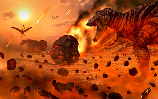MAS600204P © Stocktrek Images, Inc. Artist's concept of the Cretaceous-Paleogene extinction event.