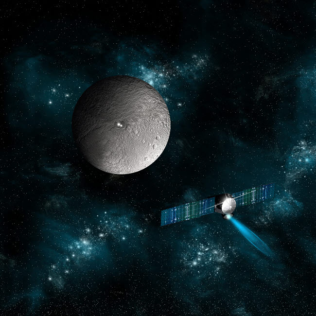 MRC200151S © Stocktrek Images, Inc. Artist's concept of the Dawn spacecraft as it approaches an encounter with Ceres.