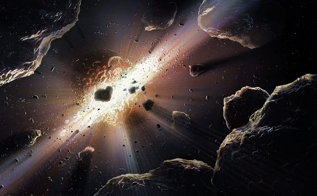 PHT200002S © Stocktrek Images, Inc. Astronomical illustration depicting the collision of rocky bodies in space.