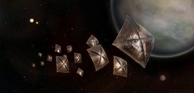 PHT200003S © Stocktrek Images, Inc. Illustration of future lightsail spacecraft studying the  Alpha Centauri star system.