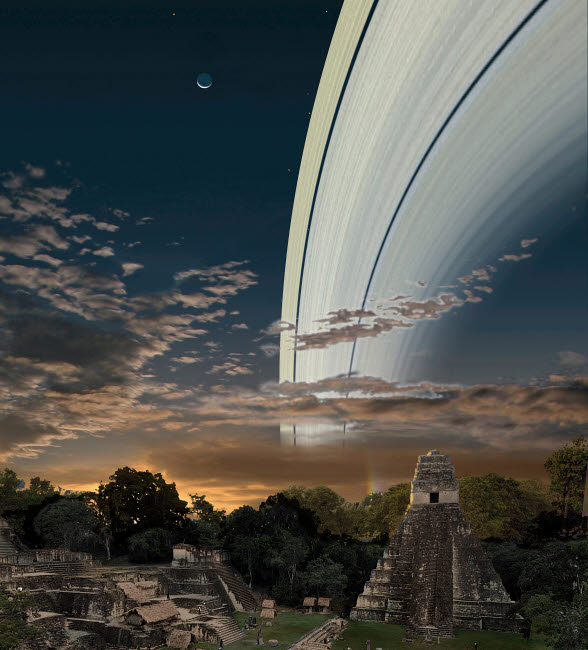 RMR100139S © Stocktrek Images, Inc. Artist's concept of Earth's planetary rings over Guatemala.