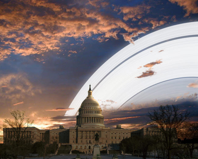 RMR100140S © Stocktrek Images, Inc. Artist's concept of Earth's planetary rings over the Capitol building in Washington D.C.