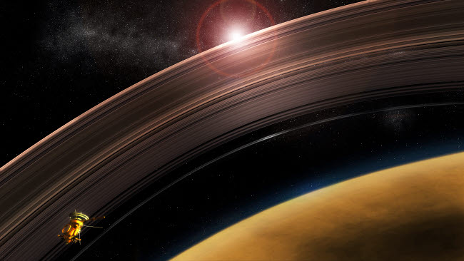 SHB100030S © Stocktrek Images, Inc. Cassini flies high risk orbits between Saturn's rings and the planet itself.
