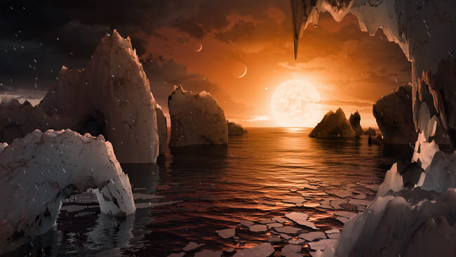 STK204787S © Stocktrek Images, Inc. Artist's concept of exoplanet TRAPPIST-1f viewed from its icy night side.