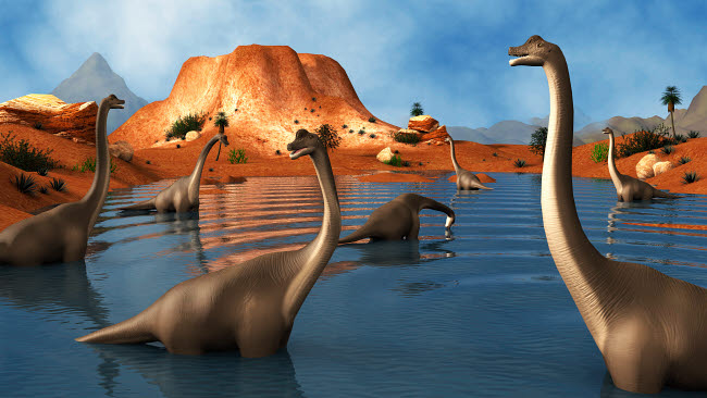 STK600156P © Stocktrek Images, Inc. Brachiosaurus dinosaurs grazing in a prehistoric lake.