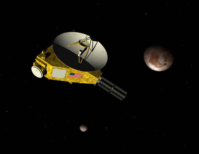 WMY100315S © Stocktrek Images, Inc. New Horizons spacecraft approaches dwarf planet Pluto and its moon Charon.