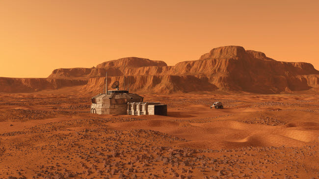 WMY100333S © Stocktrek Images, Inc. Mars outpost near mesa.