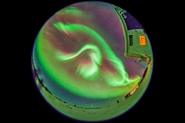 ADY200195S © Stocktrek Images, Inc. Aurora borealis over Churchill, Manitoba, Canada.