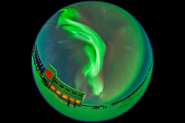 ADY200196S © Stocktrek Images, Inc. Aurora borealis over Churchill, Manitoba, Canada.