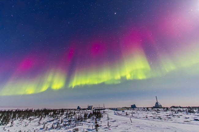 ADY200199S © Stocktrek Images, Inc. Aurora borealis seen from Churchill, Manitoba, Canada.