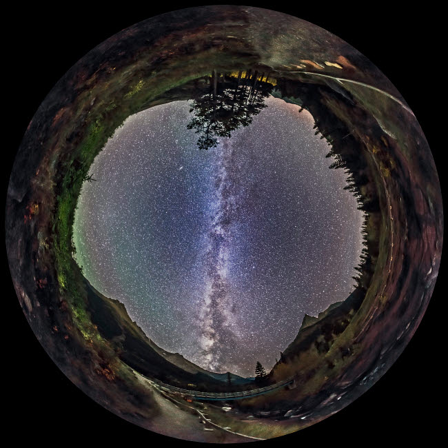 ADY200266S © Stocktrek Images, Inc. Fish-eye panorama of Milky Way over Red Rock Canyon in Alberta, Canada.