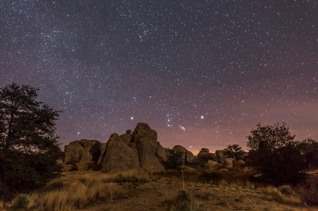 ADY200288S © Stocktrek Images, Inc. Orion rising at the City of Rocks State Park, New Mexico.