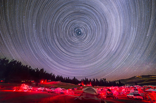 ADY200325S © Stocktrek Images, Inc. Circumpolar star trails above the Table Mountain Star Party in Washington state.