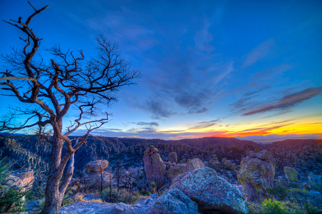 ADY200329S © Stocktrek Images, Inc. Evening twilight at the Chiricahuas National Monument, Arizona.