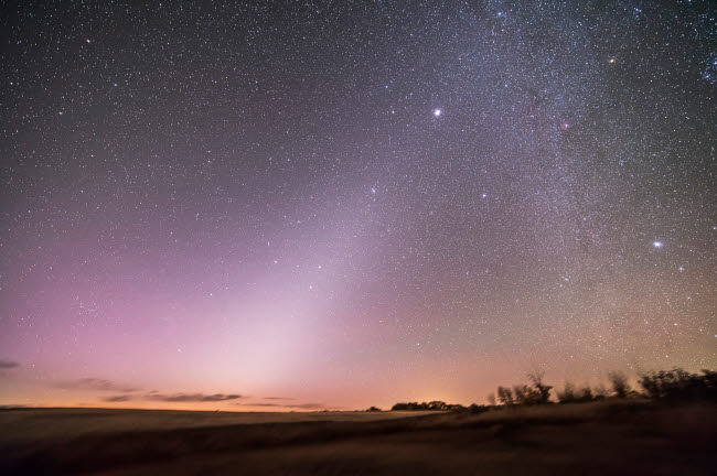 ADY200339S © Stocktrek Images, Inc. Zodiacal light in dawn sky, Alberta, Canada.