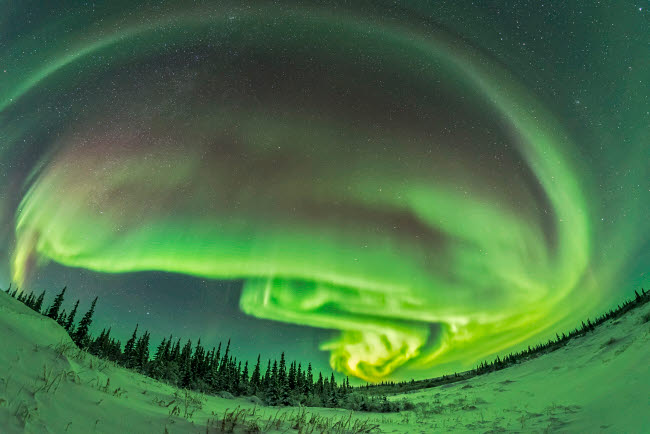 ADY200380S © Stocktrek Images, Inc. The aurora borealis in a modest display from Churchill, Manitoba.
