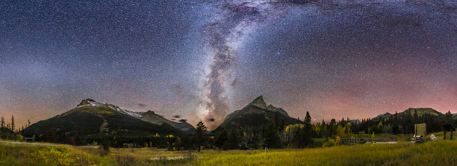 ADY200382S © Stocktrek Images, Inc. Autumn Milky Way Red Rock Canyon, Canada.