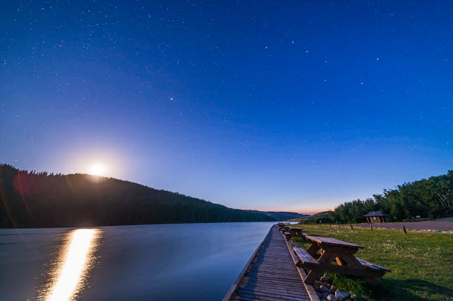ADY200383S © Stocktrek Images, Inc. Big Dipper and waxing moon at Reesor Lake, Alberta, Canada.
