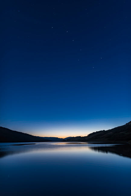 ADY200384S © Stocktrek Images, Inc. The Big Dipper in deep sunset twilight over Reesor Lake, Alberta, Canada.