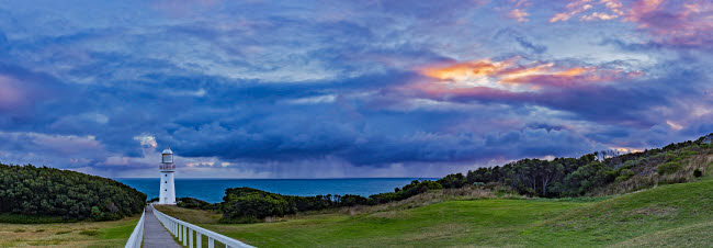 ADY200385S © Stocktrek Images, Inc. A cloudy sunset at Cape Otway Lighthouse on the Great Ocean Road, Victoria, Australia