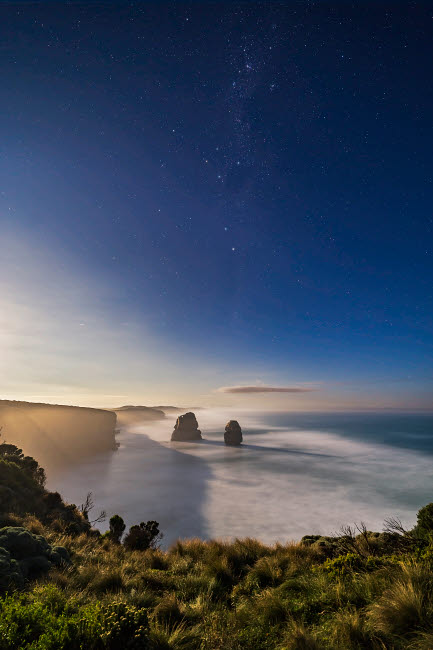 ADY200395S © Stocktrek Images, Inc. Crux and Pointers over Twelve Apostles sea stack formation, Victoria, Australia.