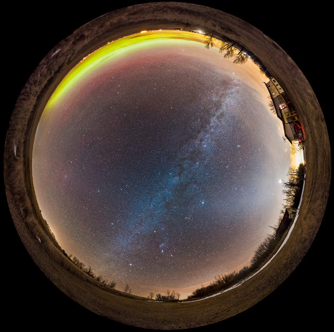 ADY200409S © Stocktrek Images, Inc. A 360 degree fish-eye panorama of the winter sky in southern Alberta, Canada.