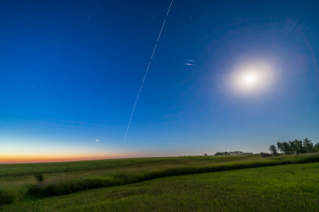 ADY200415S © Stocktrek Images, Inc. International Space Station and iridium pair at dawn, Alberta, Canada.