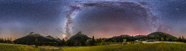 ADY200424S © Stocktrek Images, Inc. 360 degree panorama of the Milky Way at Red Rock Canyon in Canada.