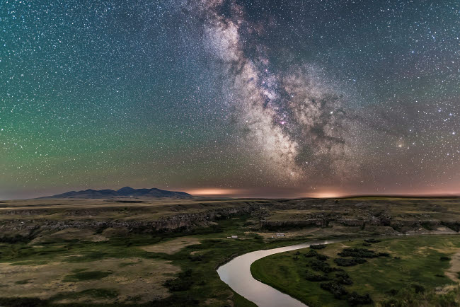 ADY200430S © Stocktrek Images, Inc. The Milky Way over the Milk River, Alberta, Canada.