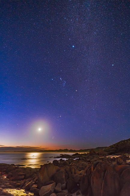 ADY200465S © Stocktrek Images, Inc. Orion, the Milky Way and waxing moon at Cape Conran, Australia.