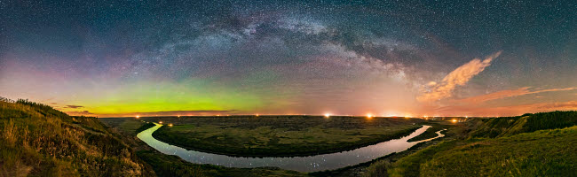 ADY200467S © Stocktrek Images, Inc. Milky Way��arching over the scenic bend of the Red Deer River, Alberta, Canada.
