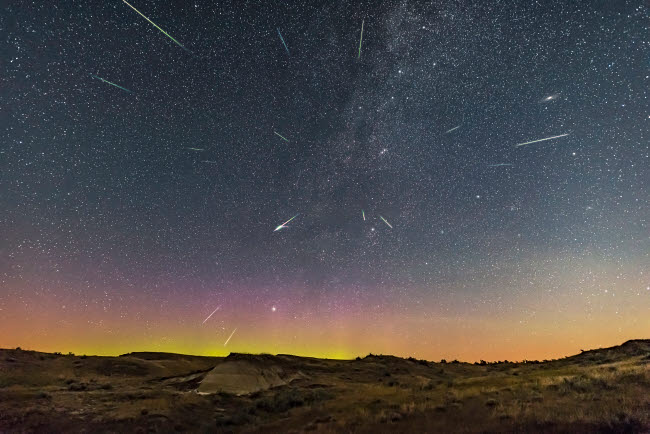 ADY200471S © Stocktrek Images, Inc. Perseid meteor shower at Dinosaur Provincial Park, Alberta, Canada.