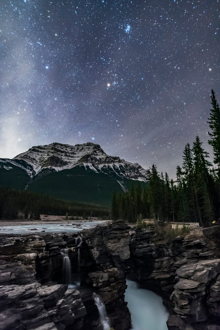 ADY200473S © Stocktrek Images, Inc. The Pleiades star cluster and other stars of Taurus above Jasper National Park, Alberta, Canada.