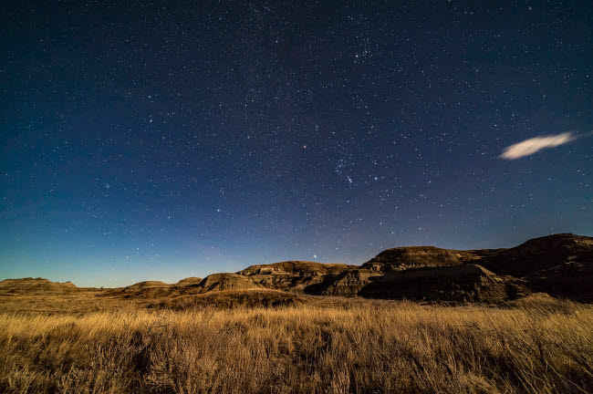 ADY200482S © Stocktrek Images, Inc. The winter stars rising over the moonlit sagebrush of Dinosaur Provincial Park, Alberta, Canada.