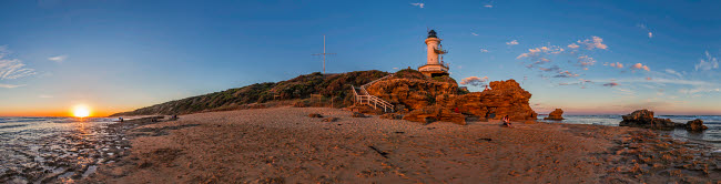 ADY200486S © Stocktrek Images, Inc. Setting Sun at Point Lonsdale Lighthouse near Queenscliff, Victoria, Australia.