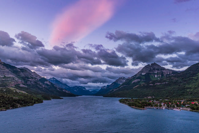 ADY200507S © Stocktrek Images, Inc. Twilight clouds over Waterton Lake, Canada.