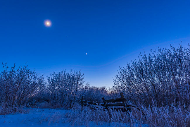 ADY200523S © Stocktrek Images, Inc. Venus, Mars and the moon over a frosty fence.